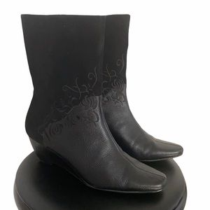 Laura Ashley Black Embroidered Mid Calf Boots